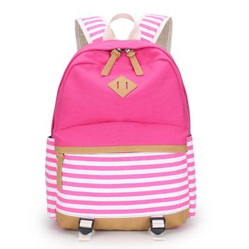 pink stripe children backpacks red flower girls backpack child bagpack women school bag kids canvas backapck fabric bag bookbag