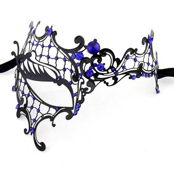 Venetian Masquerade Mask Phantom Of The Opera Metal Half Face Mask For Women Blue Rhinestones