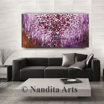 "Purple flower art on canvas, Floral painting, Texture wall art decor Flower painting, Flower bouquets Wall Art Wedding Gift 48x24""/ 122x61cm"