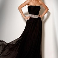 Strapless Rhinestone Couture Gown, Style157387