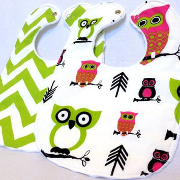 Baby Bib Set - Owl Bib Set - Modern Baby Bib Set - Chevron Bib Set - Pink and Green Baby Bib Set - White Minky Fabric- Handmade Baby Gift