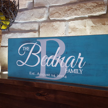 Rustic Personalized Wood Monogram Sign-Family Bednar Style