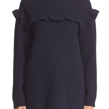RED Valentino Embroidered Ruffle Trim Wool Sweater | Nordstrom