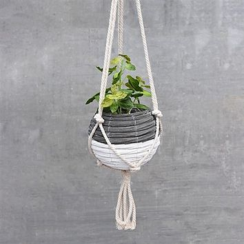 """Black and White 8"""" Ball Hanging Planter"""