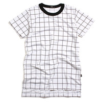 Square Bottom Long T-Shirt White Grid Lock