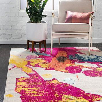 9989 Pink Colorful Abstract Contemporary Area Rugs