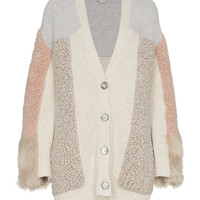 Stella McCartney Faux Fur Patchwork Cardigan - ShopBAZAAR