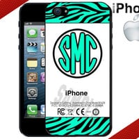 Mint Zebra Print iPhone Case - Monogrammed iPhone 4 Case or iPhone 5 Case