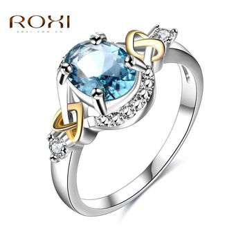 ROXI Women Rings Silver Elegant Crystal Statement Ring anillos mujer Love for Women Luxury Engagement Ring 2017