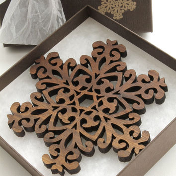 Black Walnut Filigree Style Wood Snowflake Ornament Decoration. Timber Green Woods