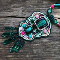 Beadwork statement colorful necklace Emerald Green Pink Embroidered necklace Bead Embroidery Pendant necklace Birthday Gift idea for women