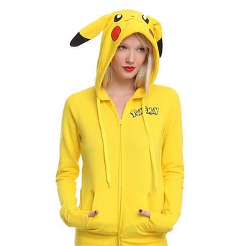 Fashion Women Jacket Yellow Harajuku Solid  Pikachu Printed Costume Tail Zip Totoro Hoodies Sweatshirt Sudaderas Mujer XSKawaii Pokemon go  AT_89_9