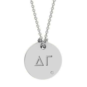Delta Gamma Silver Antique Pavé Pendant Necklace, available in any sorority, other metals