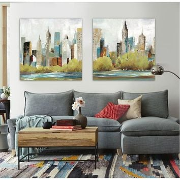Modern building painted landscape painting on canvas wall art home decor Empire State Building in New York City