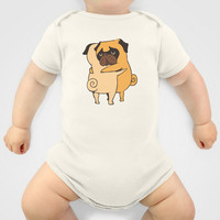 Pug Hugs Baby Clothes by Huebucket