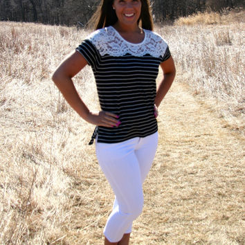Lace Yoke Stripe Top