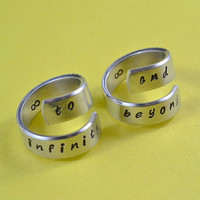 to infinity and beyond - Spiral Rings,  Hand stamped, Shiny Aluminum, Forever Love, Friendship