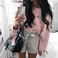 Women Simple Casual Embroidery Letter Bandage Long Sleeve Sweater Crop Tops