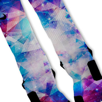 Galaxy Prism Lebron 11 Fast Shipping!! Nike Elite Socks Customized Kobes KD