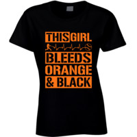 This Girl Bleeds Orange and Black Baseball T Shirt - San Francisco Giants Team Colors