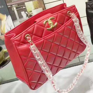 Chanel Fashion Women Shopping Leather Metal Chain Crossbody Satchel Shoulder Bag Red G-QS-MP-JZLB