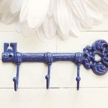 Cast Iron Key Hook / Purple Home Decor / Iron Key / Skeleton Key / Wall Key Holder / Key Rack / Decorative Key Hook / Shabby Chic Wall Hook
