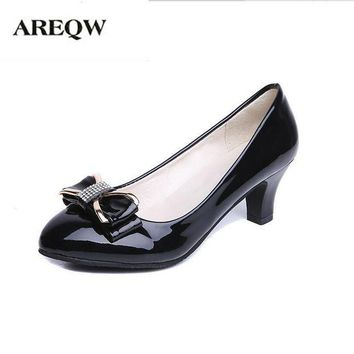 AREQW 2017 spring new Bow tie and middle heel leather shoes woman round head and large