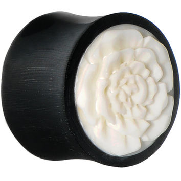 20mm Hand Carved Bone Flower Horn Saddle Plug