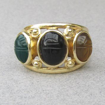 1970's Vintage Solid 14k Gold Jade, Onyx & Carnelian Scarab Ring, Size 7