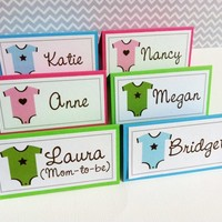 Onesuit Food Sign or Guest Place Cards for Baby Shower Party