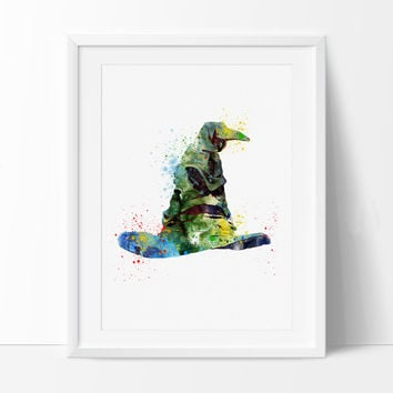 Harry Potter Art, Sorting Hat Print, Watercolor Art, Kids Room Art, Harry Potter Poster, Hogwarts Wall Art Print (75)