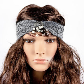 LACE HEADBAND, jewelry lace headband by LoveKnitting