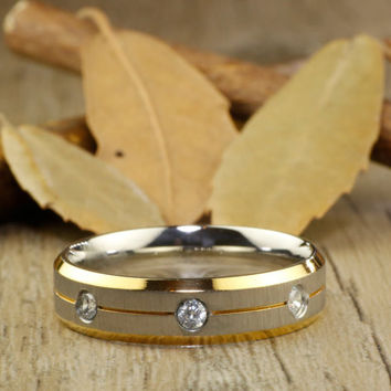 Handmade Customize Gold Wedding Band, Men Ring, Couple Ring, Titanium Ring, Anniversary Ring