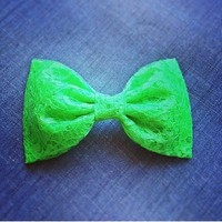 Neon Green Lace hair fabric bow from Bowlicious Divas Bowtique
