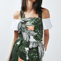 Ring Detailed Leaf Print Playsuit - Rompers & Jumpsuits - Clothing