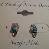 Authentic Navajo,Southwestern,Native American sterling silver sleeping beauty turquoise arrowhead stud earrings.