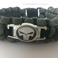 Punisher Paracord Survival Bracelet with Charm Two Color Choices By Bostonred2010 (FOLIAGE WITH BLACK LINE, 9)