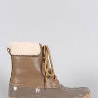 Faux Shearling Ankle cuff Lace Up Duck Ankle Boots
