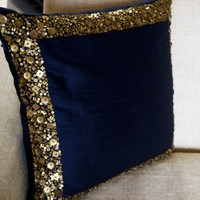 Beaded Throw Pillow Covers - Navy Blue Cushion Cover with Gold Sequin and Beads Details - Decorative Pillow Cover - Navy Blue Cushion Covers - Gold Sequin Bead Pillow Cover - Regal Metallic Cushion Cover (12x12)