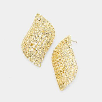 Wavy Pave Cubic Zirconia Evening Earrings