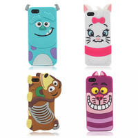 Pop New Cute 3D Cartoon Monster university Sulley Marie Alice Cat slinky dog back Cover Soft Case For iphone 5 5G 5S 5C  PC0101