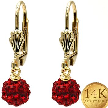 Gold Filled Womens Ball Earring, with Garnet Stones By Folks Jewelry