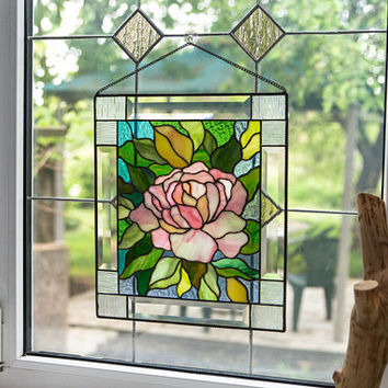 Stain Glass Window Panel / Stain Glass Flower / Stain Glass Window Decor / Flower Wall Hanging / Stain Glass Art / Glass Flower Picture