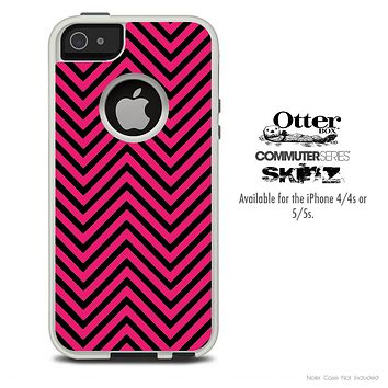 The Sharp Pink & Black Chevron Pattern Skin For The iPhone 4-4s or 5-5s Otterbox Commuter Case