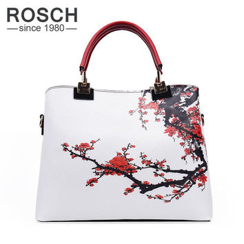 2016 Luxury Brand Women Handbags Floral Printed Designer High Quality Top-Handle Tote Bag for Ladies Fashion Female Shoulder Bag