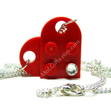 Red Heart Necklace made from LEGO (r) Heart Pieces, Valentine's Day
