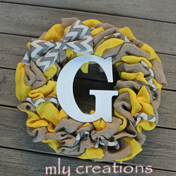 initial wreath, chevron wreath, burlap wreath, home decor,gift for mom, personalized gift,yellow wreath, mothers day, custom wreath, chevron