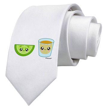 Cute Tequila Shot and Lime Wedge Printed White Necktie by TooLoud