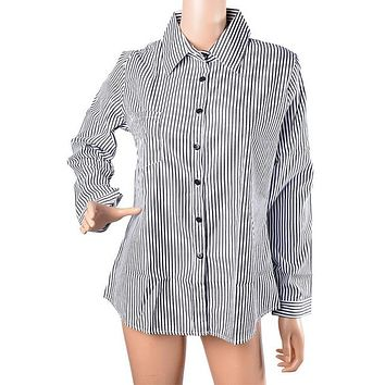 STYLEDOME Women Striped Long Sleeve Shirt Turn-Down Collar Loose Blusas Femme Casual Tops Sexy Tee Plus Size 3XL