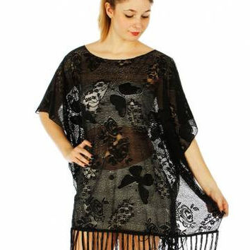 Flower and Butterfly Cable Knit Poncho w/Fringe  One Size Fits S-XL in 2 Colors